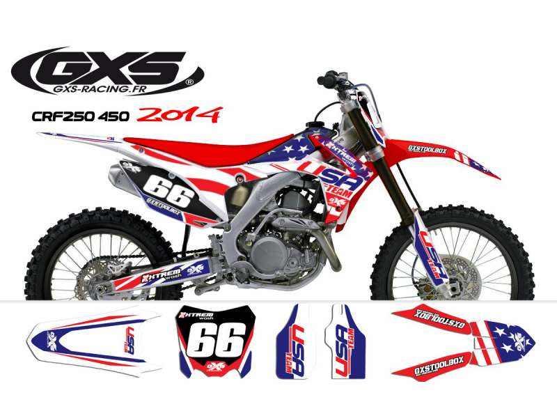 Kit déco Honda 250-450 CRF 2014 USA