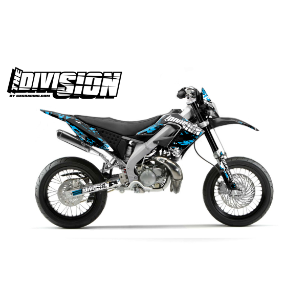 Kit DÉCO DERBI DRD PRO 2006-2009 THE DIVISION Cyan