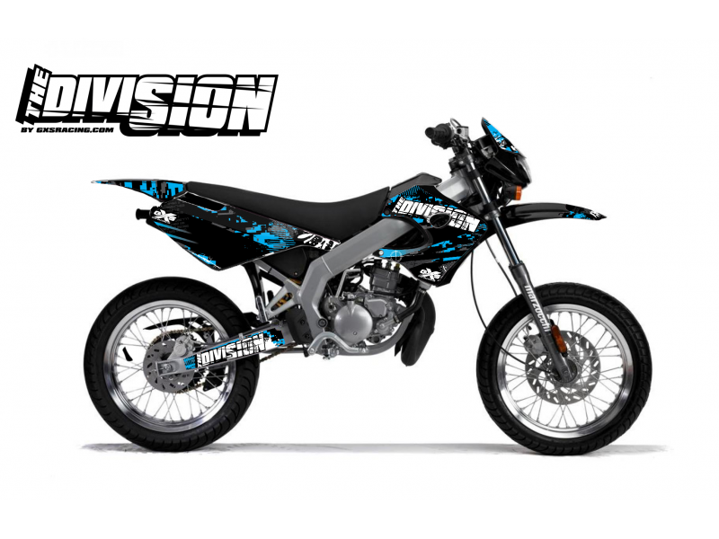Kit Déco Derbi X-RACE 03-07 THE DIVISION Cyan