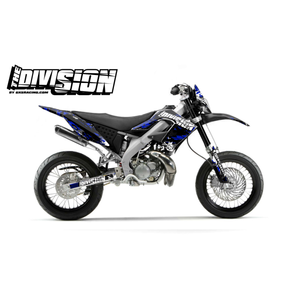 Kit DÉCO DERBI DRD PRO 2006-2009 THE DIVISION Bleu