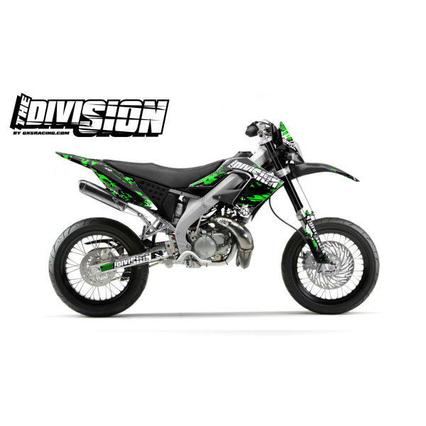 Kit DÉCO DERBI DRD PRO 2006-2009 THE DIVISION Vert