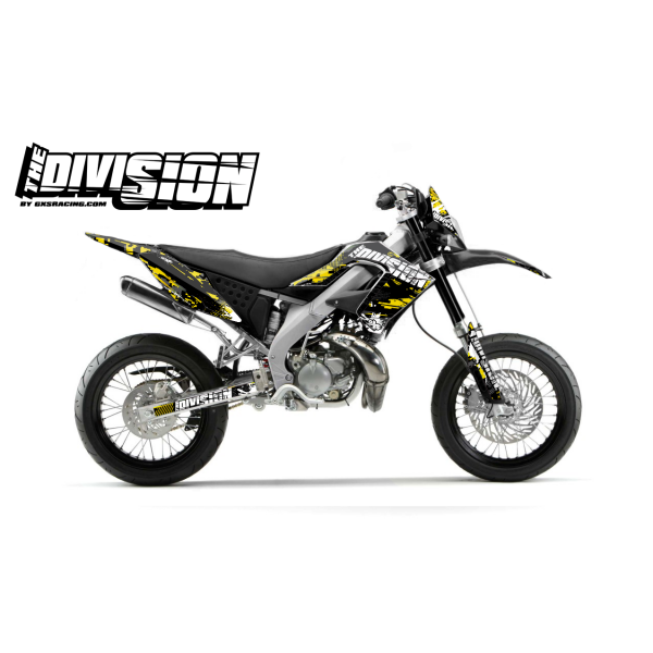 Kit DÉCO DERBI DRD PRO 2006-2009 THE DIVISION Jaune