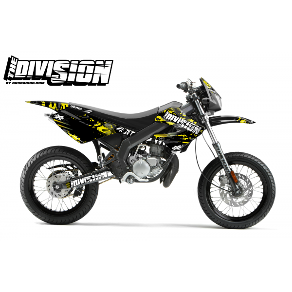 Kit Déco Derbi X-treme 05-09 THE DIVISION Jaune