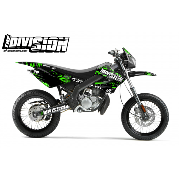 Kit Déco Derbi X-treme 05-09 THE DIVISION Vert