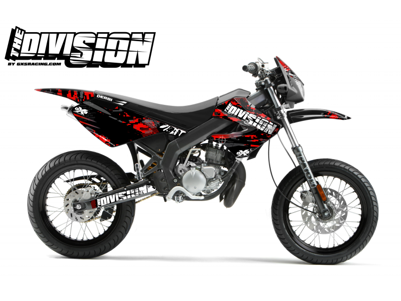 Kit Déco Derbi X-treme 05-09 THE DIVISION Rouge