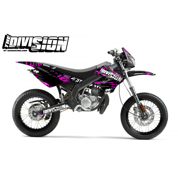 Kit Déco Derbi X-treme 05-09 THE DIVISION Magenta