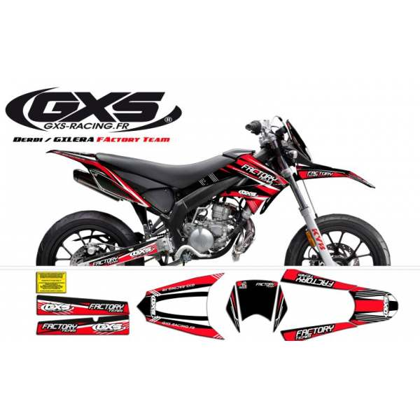 kit Déco Derbi Senda DRD X-Treme / GILERA SMT Factory TEAM Rouge